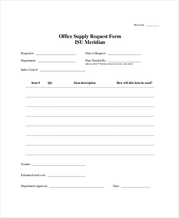 army supply request form sample - Supply Request Form