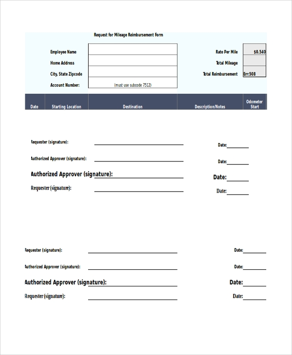 Sample Mileage Reimbursement Form   Examples In Word Pdf Excel