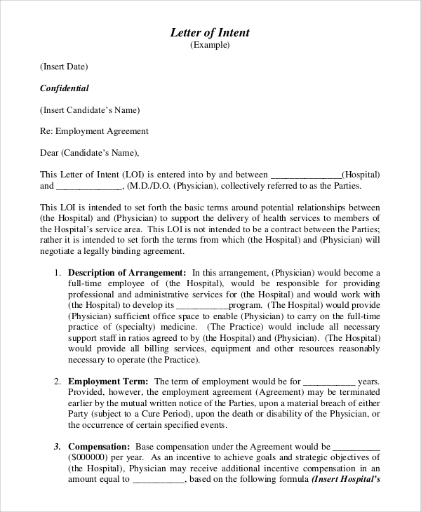 letter of intent sample employment agreement