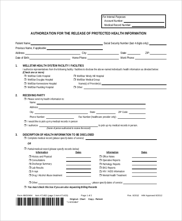 Sample Medical Release Form   Examples In Pdf