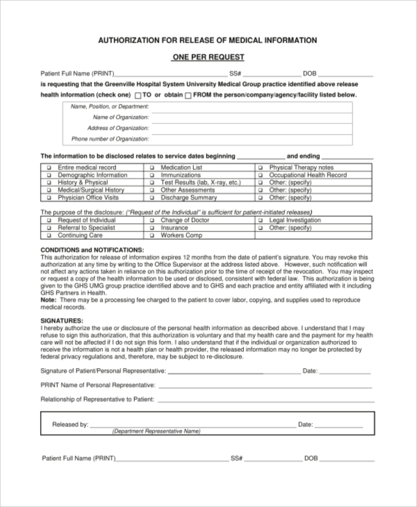 Generic Medical Release Form  CityEsporaCo