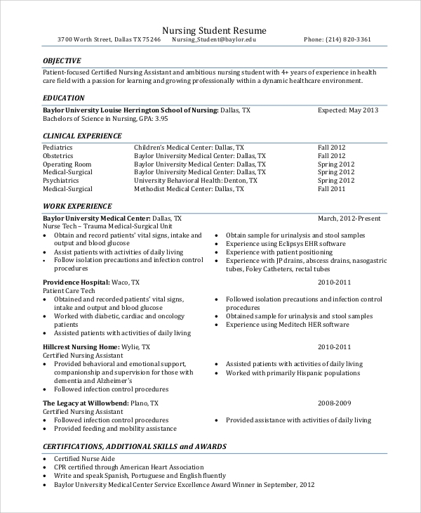 Sample Nursing Resume   Examples In Pdf