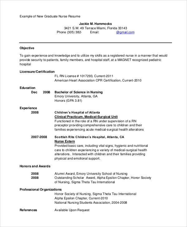 Sample Nursing Resume - 9+ Examples In Pdf