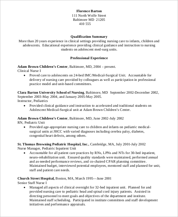 Free 10 Sample Nursing Resume Templates In Pdf Ms Word