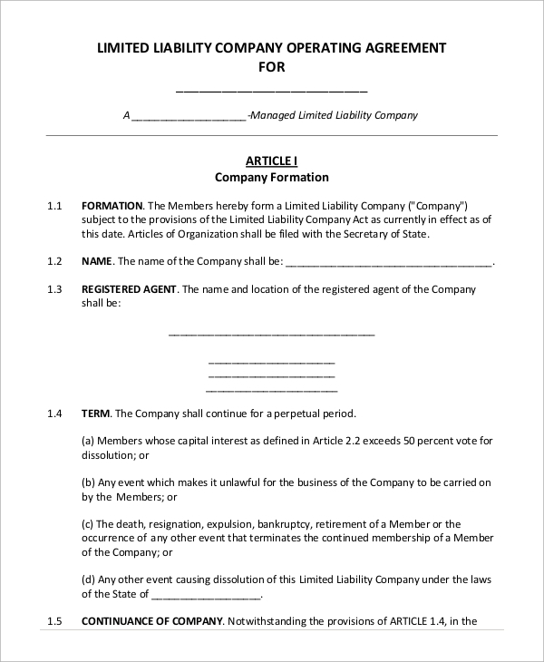 9 Sample Operating Agreements Sample Templates