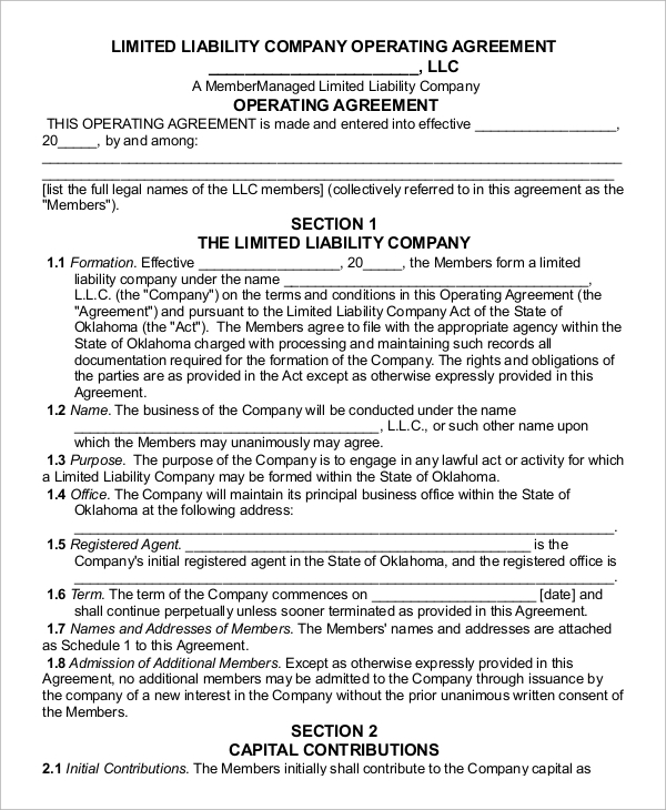 Sample Operating Agreement - 9+ Examples In Word, Pdf