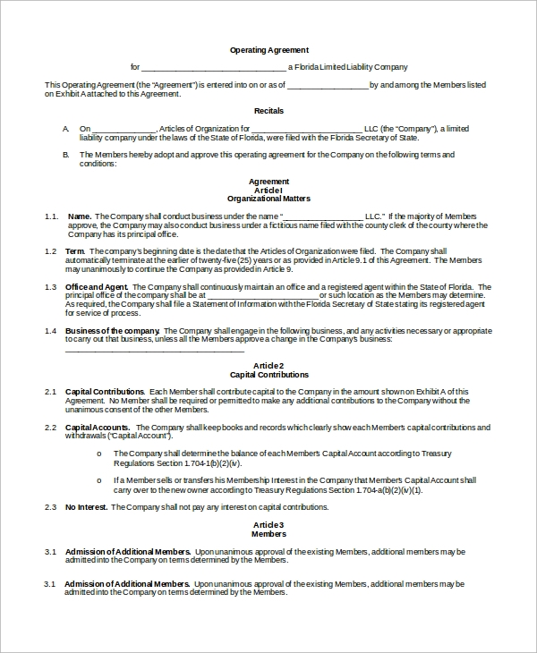 sample operating agreement 9 examples in word pdf