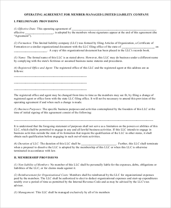 Sample Operating Agreement   Examples In Word Pdf