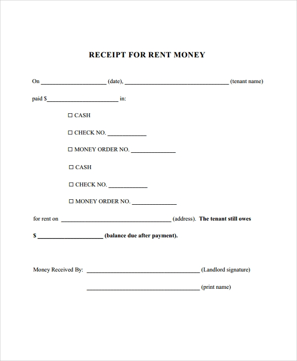 Sample Rent Receipt 9 Examples in PDF Word – Receipt for Money Received