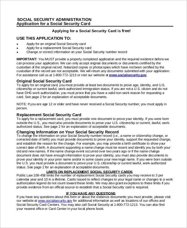 Sample Social Security Form   Examples In Pdf