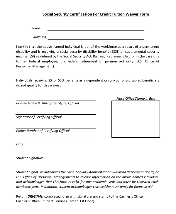 Sample Social Security Form - 7+ Examples In Pdf