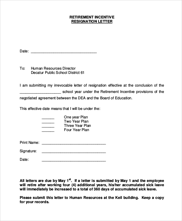 resignation retirement letter example