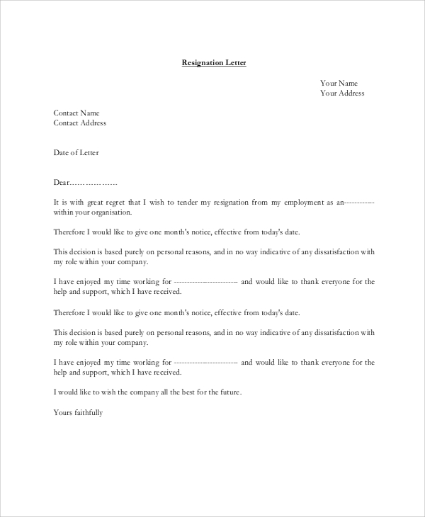 8 resignation letter examples sample templates resignation letter example personal reasons spiritdancerdesigns Images