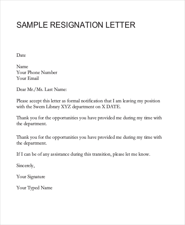 Resignation Letter Example - 8+ Samples In Word, Pdf