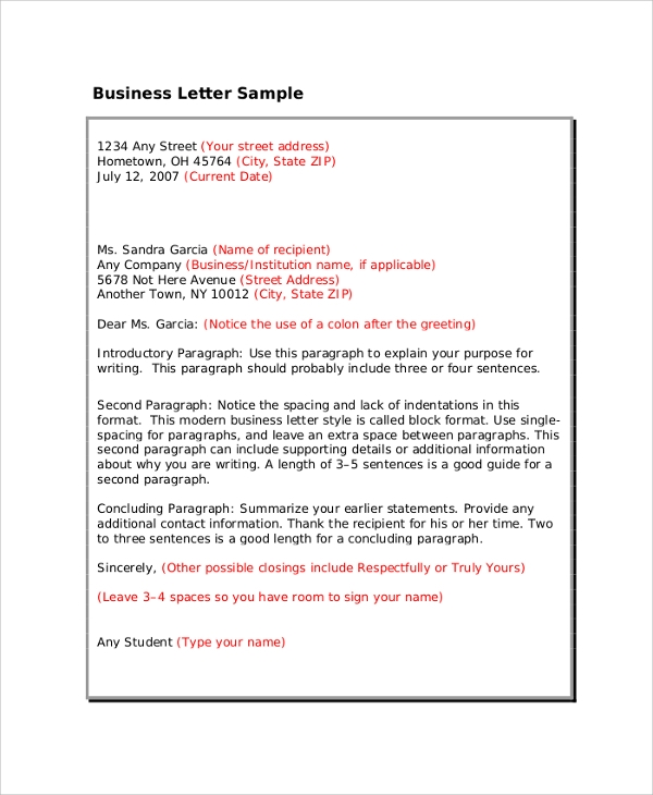 Professional Letter Format Sample - 8+ Examples In Pdf, Word