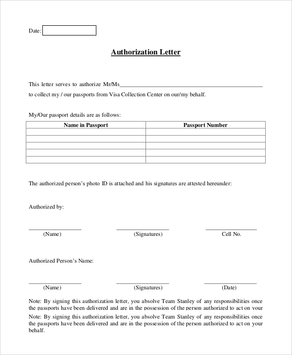 Sample Authorization Letter   Examples In Pdf