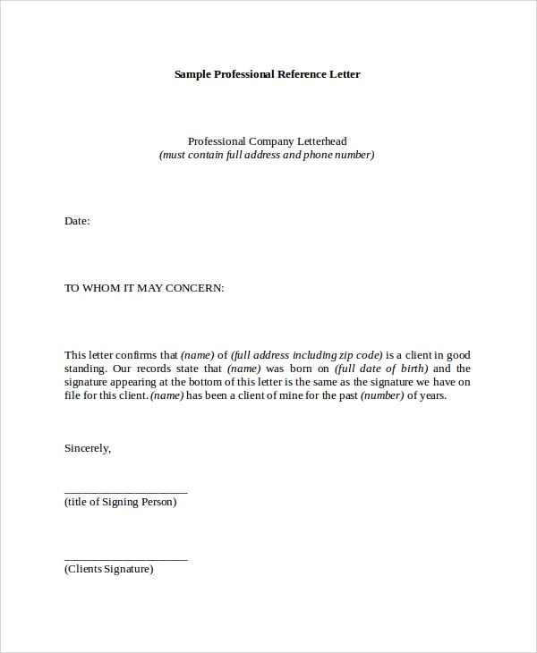 Examples Of Reference Letters  Professional References Letter Template