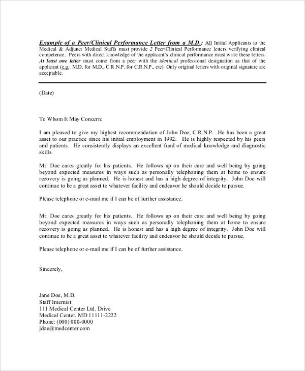 sample reference letter for nurse