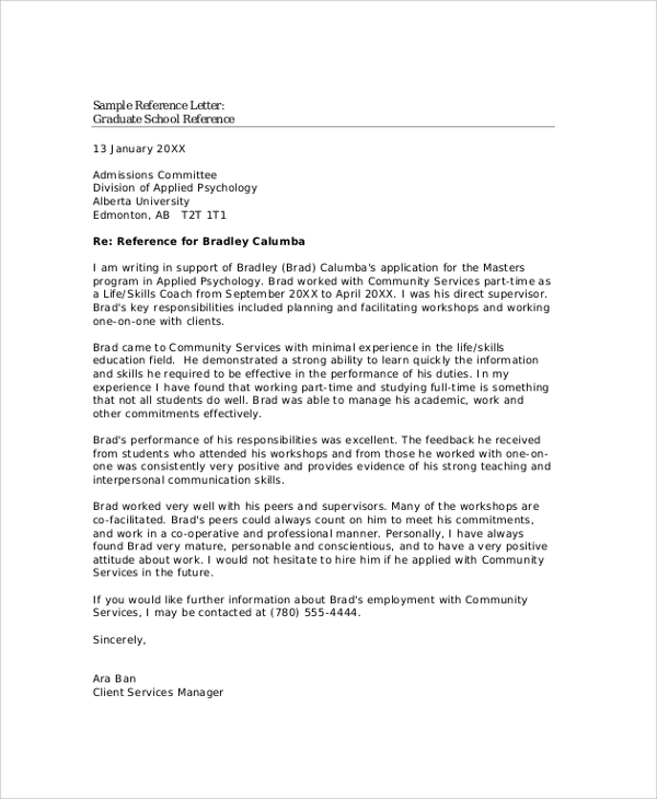 sample reference letter for graduate school