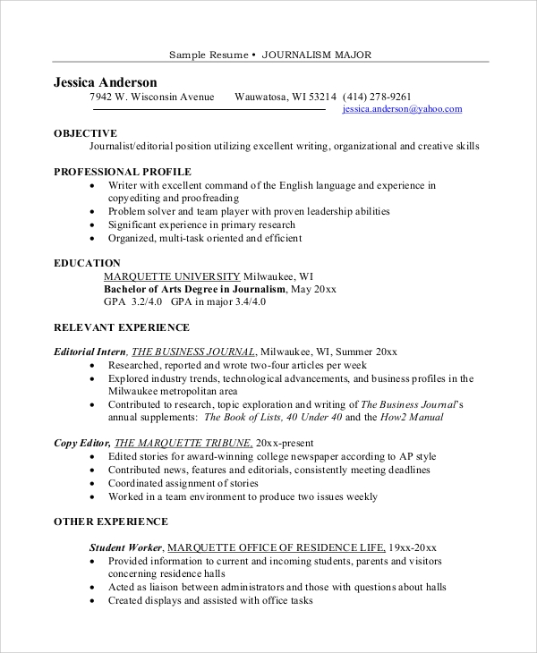 Free 8 Sample Resume Objective Templates In Pdf Ms Word