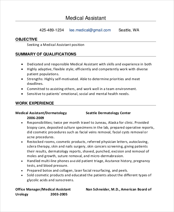 medical assistant resume objective2