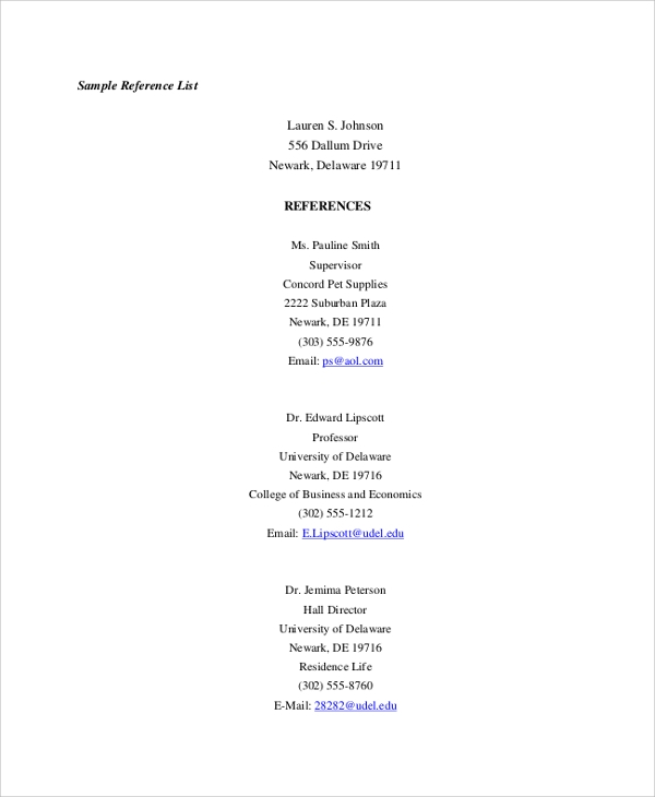 sample list of references