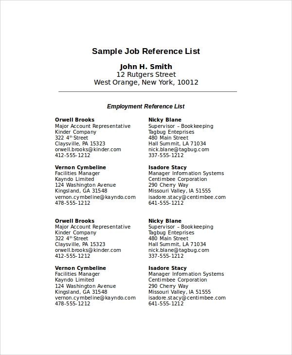 sample of a reference list