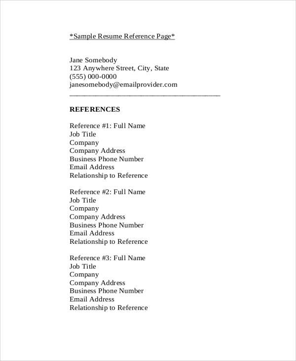 resume reference list sample
