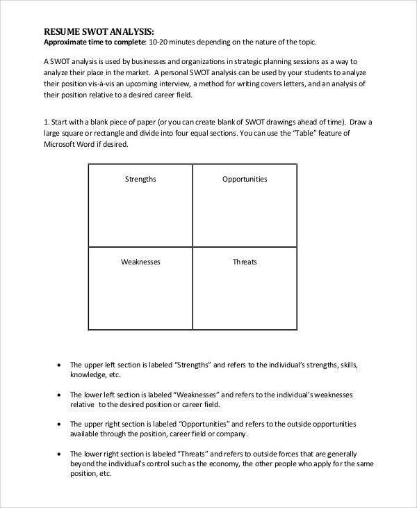 SWOT Analysis Example 10 Samples in PDF Word – Example of a Swot Analysis Paper