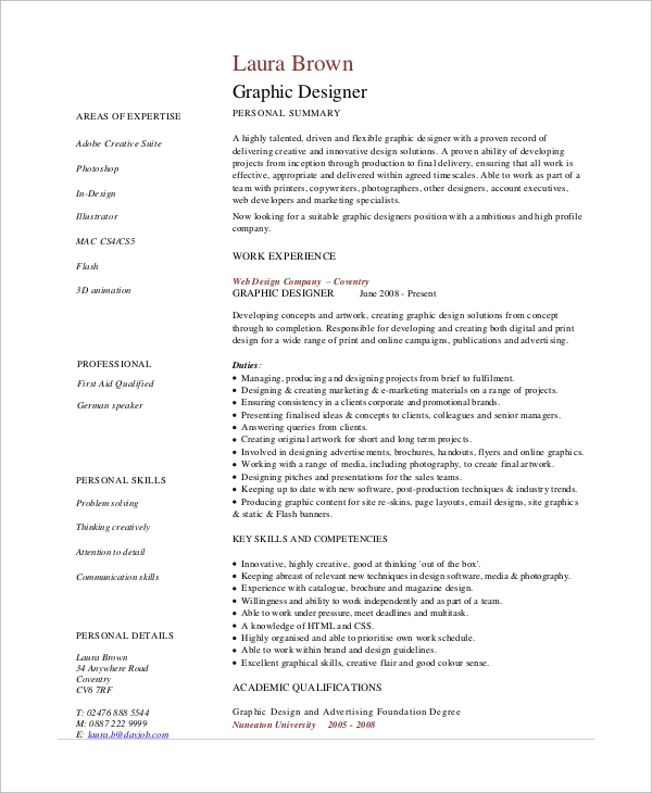 Sample Graphic Design Resume   Examples In Pdf