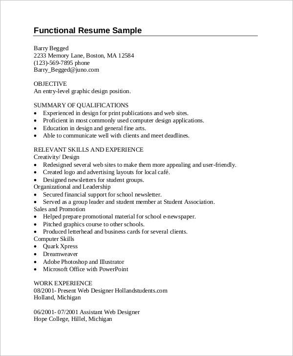 entry level graphic design resume