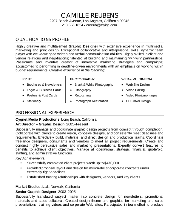 professional graphic design resume