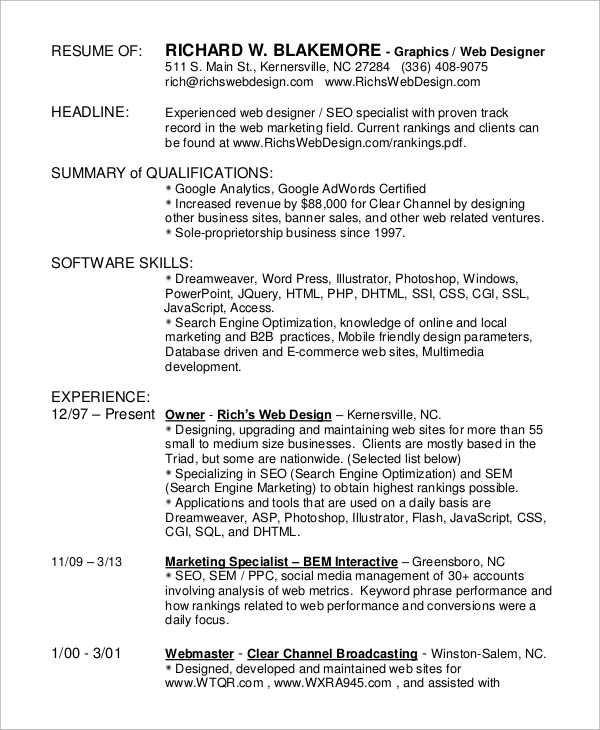 experienced graphic design resume
