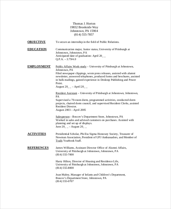 Free 8 Sample College Student Resume Templates In Pdf Ms Word