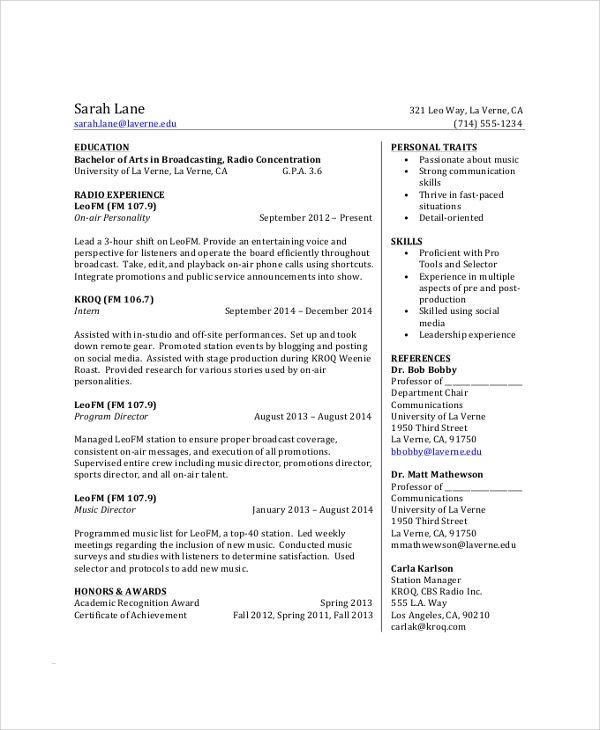 Sample College Student Resume   Examples In Pdf Word