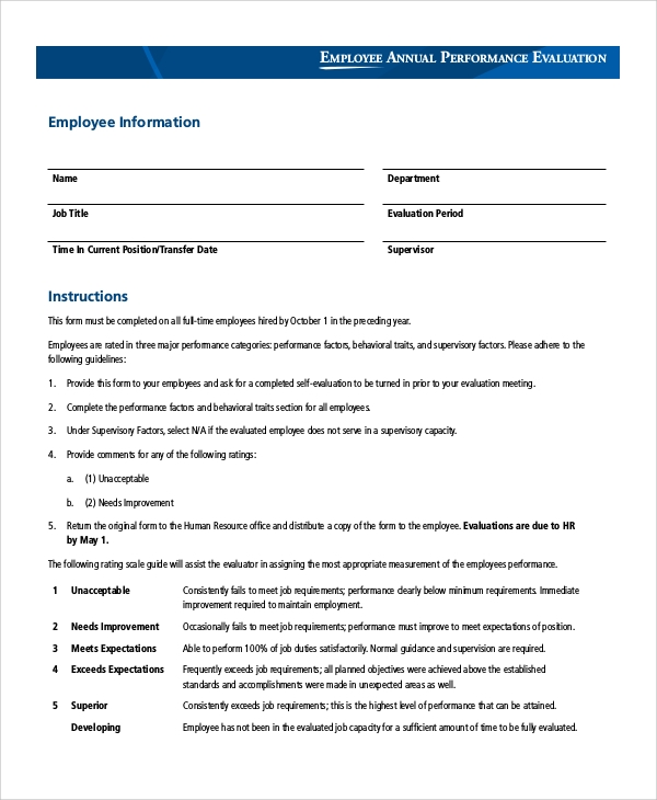 Sample Employee Evaluation Form   Examples In Pdf Word