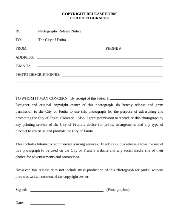 Sample Photo Release Form 9 Examples in Word PDF – Photography Copyright Release Form