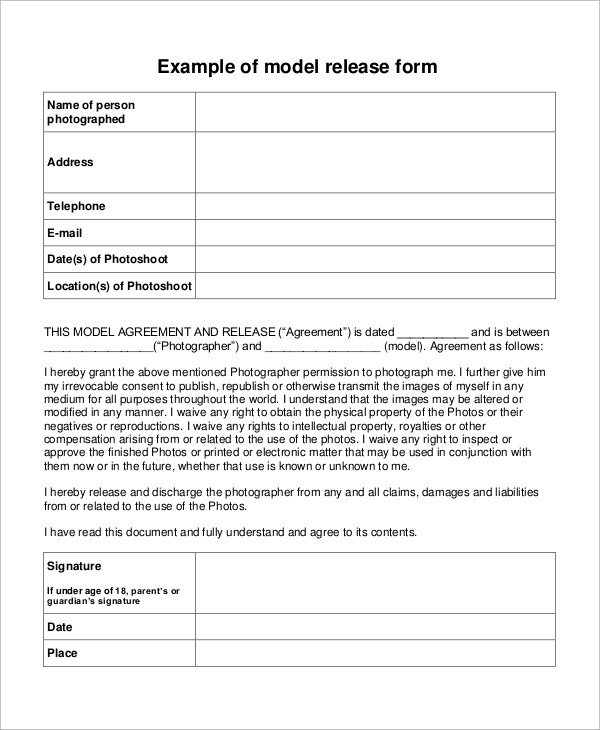 model photo release form