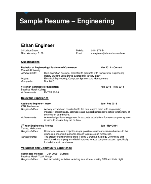 Sample Engineering Student Resume