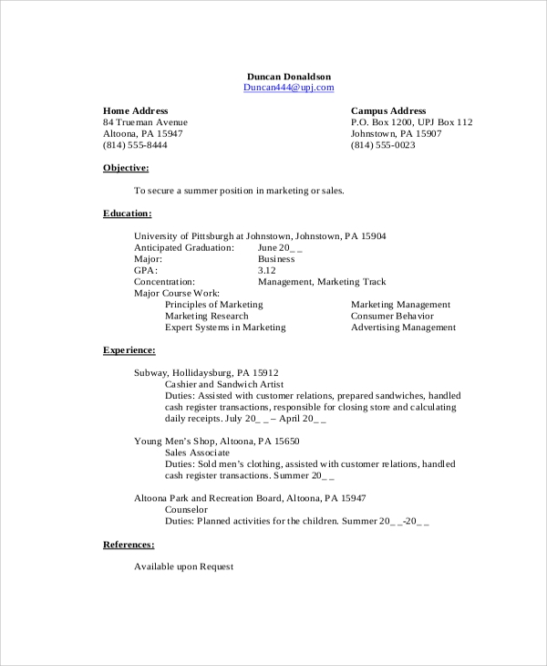 sample undergraduate student resume - Sample Undergraduate Resume