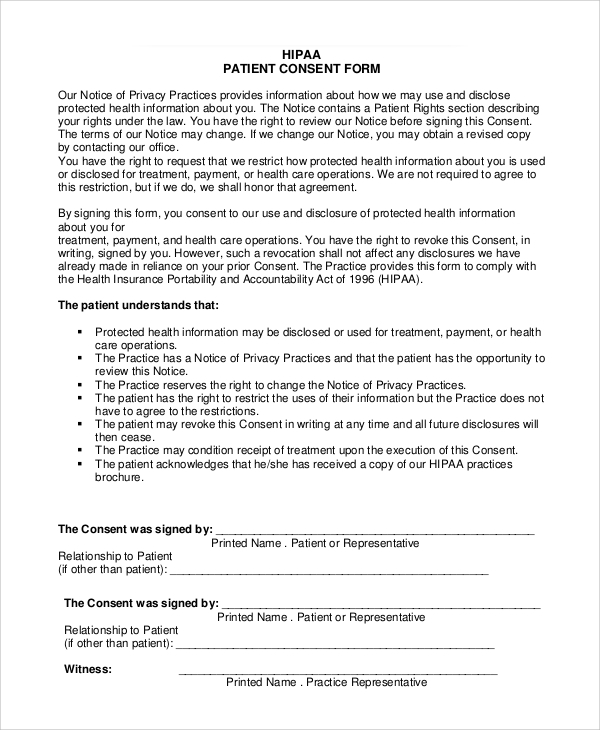 hipaa consent form