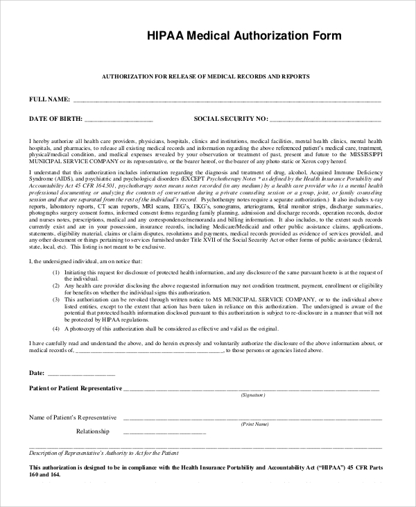 Sample Hipaa Form   Examples In Pdf Word