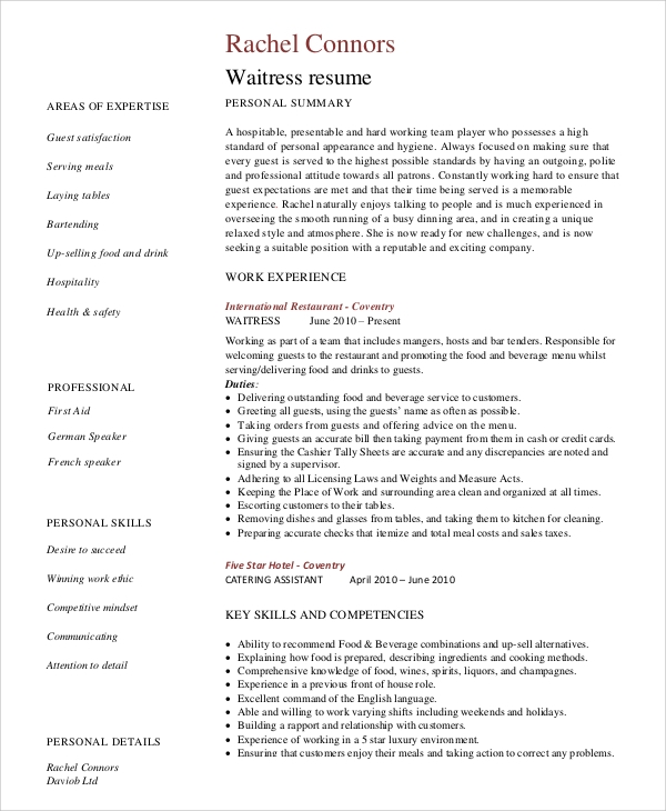 Sample Server Resume   Examples In Word Pdf