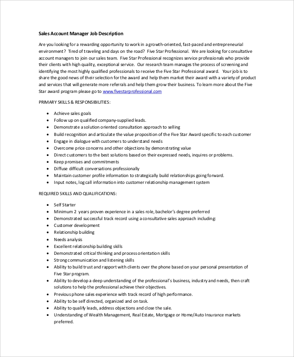 Sample Account Manager Job Description   Examples In