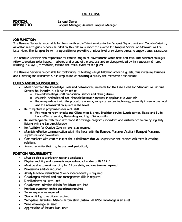 banquet server resume - Banquet Server Resume Example