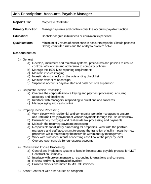 Sample Account Manager Job Description   Examples In Pdf
