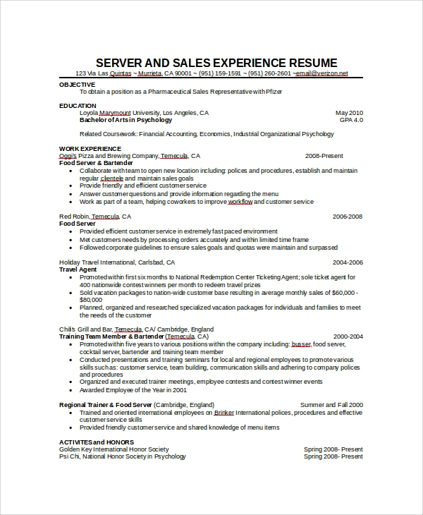 Server Resume sample resume objectives for servers shopgrat resume for servers Server Experience Resume