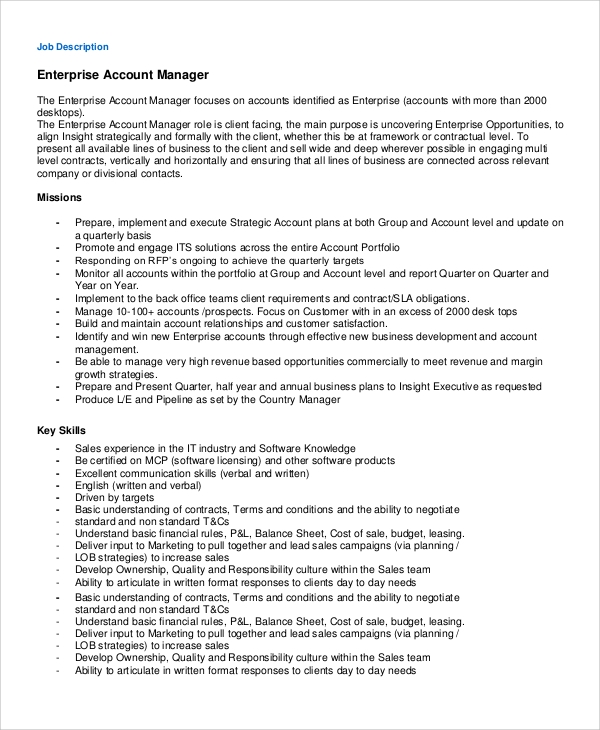 account executive job description template