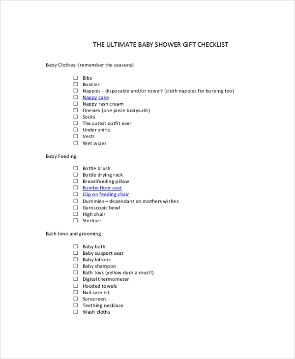 Sample Baby Shower Checklist   Examples In Pdf Excel