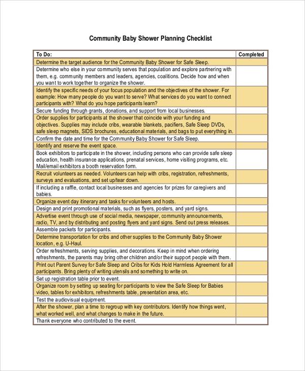 sample baby shower checklist